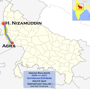 Gatimaan Express - Gatimaan Express (Agra - Nizamuddin) route map