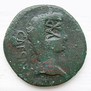 """Publius Quinctilius Varus - As Lugdunum I (RIC 230), countermarked """"VAR"""" (Varus)."""