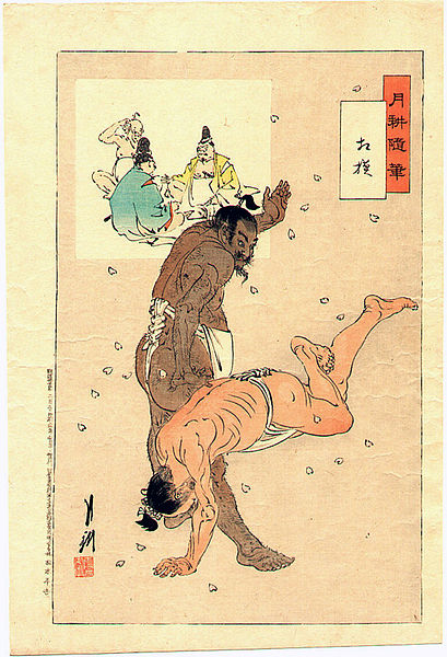 Print of Japanese Sumo Wrestlers