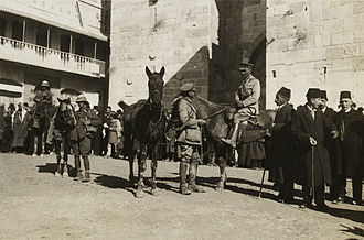 Westminster Dragoons - Brigadier General Watson of the 60th (2/2nd London) Division enters Jerusalem. Two Westminster Dragoons can be seen on the left.
