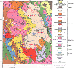 Generalized geologic map of the Yosemite area....