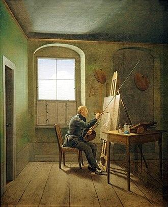 Caspar David Friedrich in his Studio - Hamburg version (1811).