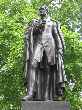 Cavendish Square - Statue of Lord George Bentinck on the south side of Cavendish Square by Thomas Campbell.