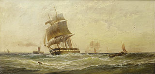 Running down the Channel in a fair wind as she clears the stern of the ferry