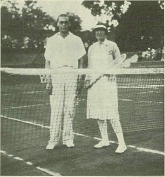 1930 Hungarian International Tennis Championships - Mixed doubles champions Georges Glasser and Simone Barbier at Margitsziget