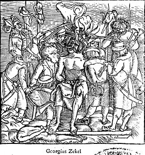 Popular revolts in late-medieval Europe - The rebellion of György Dózsa in 1514 spread like lightning in the Kingdom of Hungary where hundreds of manor-houses and castles were burnt and thousands of the gentry killed by impalement, crucifixion and other methods. Dózsa is here depicted punished with heated iron chair and crown