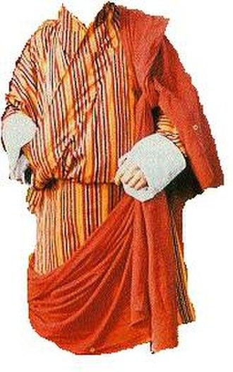 Kabney - Gho with orange kabney.