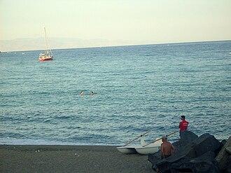Giardini Naxos - A Giardini Naxos beach at dusk.