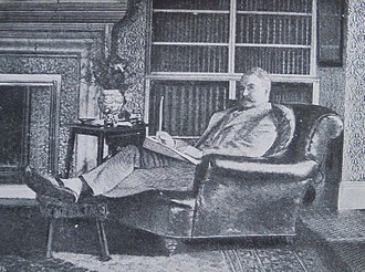 Stanmore - Opera librettist W. S. Gilbert in the library at Grim's Dyke (1891)