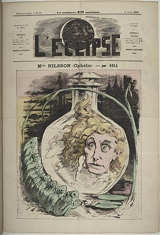 Christina Nilsson - Nilsson as Ophelia, caricatured by André Gill, 1868