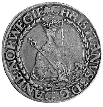 Christian III of Denmark - King Christian III on Norwegian silver coin  (Gimsøydaleren) from 1546