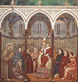 São Francisco ora junto ao Papa Honorius III, por Giotto.