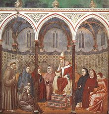 Giotto - Legend of St Francis - -17- - St Francis Preaching before Honorius III.jpg