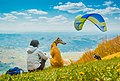 Girl and her dog with paraglider in the back - 45543860192.jpg