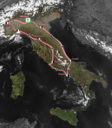 Map of Italy showing the path of the race, going clockwise from Milan down to Naples, then north back to Milan