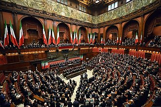 Constitution of Italy - Swearing in of President Sergio Mattarella in front of a joint session of Parliament at Palazzo Montecitorio, seat of the Chamber of Deputies.