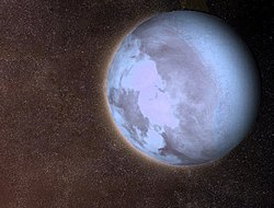 Artist's Impression of Gliese 581 c, the first extrasolar planet discovered within its star's habitable zone.
