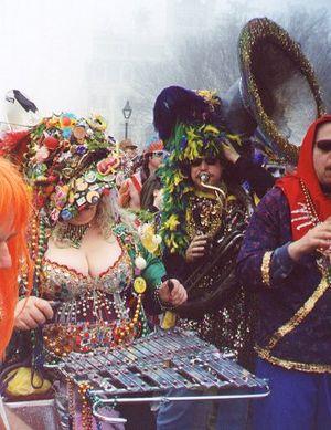 Glockenspiel - A Mardi Gras musician playing a glockenspiel.