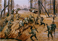 In foreground group of Japanese-American soldiers climb over a ridge and begin to fire upon a German tank in the background which is accompanied by a German half-track in a wooded area.