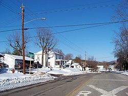Houses in Goshen in winter