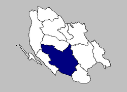 The Gospić municipality within the لیکا-سینی کاؤنٹی