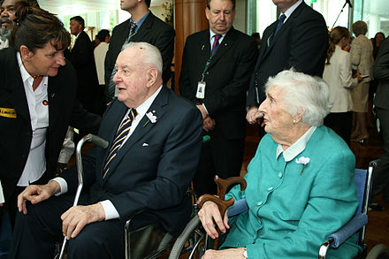 Gough Whitlam with wife Margaret at Parliament House for the national apology to the Stolen Generations in February 2008 GoughSorry.jpg