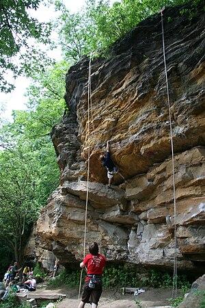Grand Ledge, Michigan - Popular rock climbing route Doug's Roof