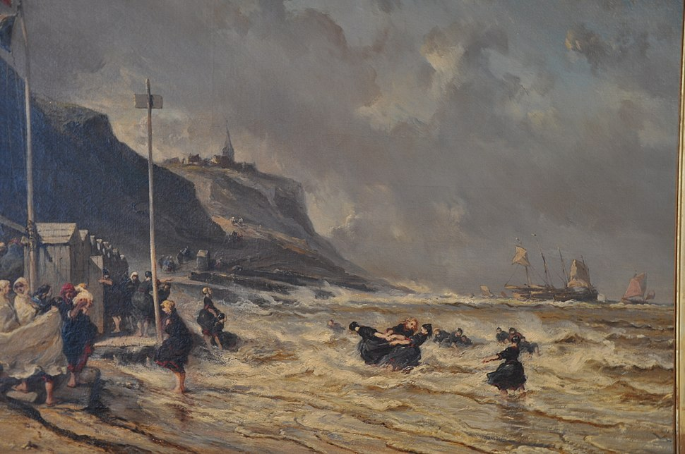 Granville, beach, painting by Isabey Eugène,1863