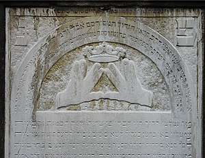 Kohen - Blessing gesture depicted on the gravestone of rabbi Meschullam Kohn (1739–1819), who was a kohen.