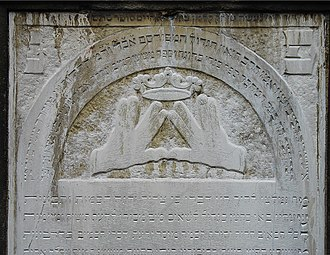 Priestly Blessing - Blessing gesture depicted on the gravestone of Rabbi and Kohen Meschullam Kohn (1739–1819)