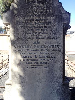 Stanley Price Weir - Image: Grave of Stanley Price Weir