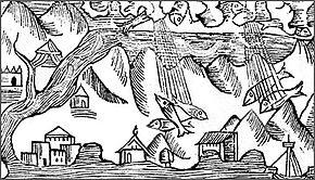 Grabado de O. Magnus, de 1555, representando una lluvia de peces.