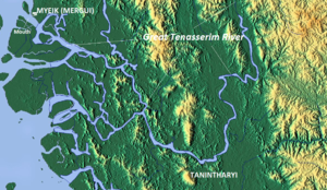 Tanintharyi - Map showing the town and the river