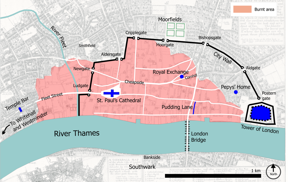 Central London in 1666, with the burnt area shown in pink