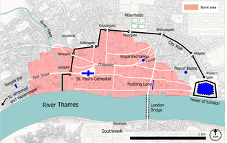 Map of London after the Great Fire in 1666, showing Pepys's home Great fire of london map.png