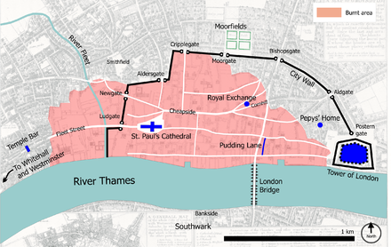 Map of London after the Great Fire in 1666, showing Pepys' home Great fire of london map.png