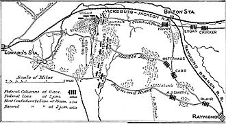 Battle of Champion Hill - Map from Campaigns of the Civil War: The Mississippi, by Francis Vinton Greene, 1882.