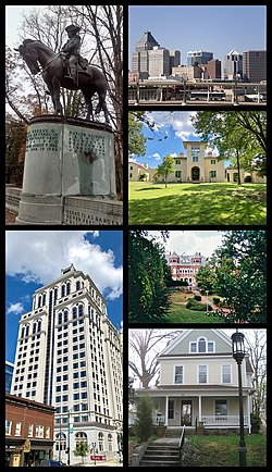 Collage of photos of Greensboro. Clockwise from top left: Statue of Nathanael Greene, Greensboro skyline, Blandwood Mansion, Foust Building at UNCG, historic home in College Hill, Lincoln Financial Tower on Elm Street