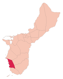 Location of Umatac within the Territory of Guam.