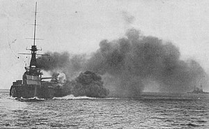 HMS Monarch (1911) - Monarch firing her main battery, before 1915