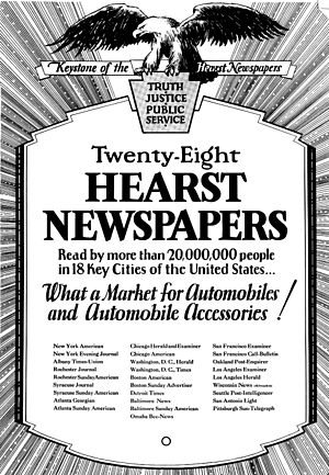 Hearst Communications - An ad asking automakers to place ads in Hearst chain, noting their circulation.