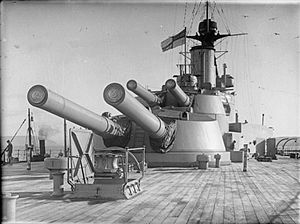 Iron Duke-class battleship - Image: HMS Emperor Of India Aft 13.5inch Guns