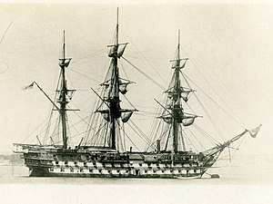 HMS London (1840) -  HMS London in Zanzibar circa 1876.