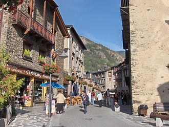 Ordino - Carrer Major and main street of Ordino town.