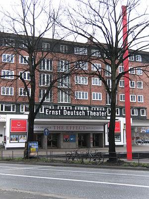 Ernst Deutsch Theater - The private Ernst Deutsch Theater in Hamburg-Mundsburg, Germany with red column.