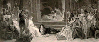 Daniel Maclise - A detail of the engraving of Maclise's 1842 painting The Play-scene in Hamlet, portraying the moment when the guilt of Claudius is revealed.
