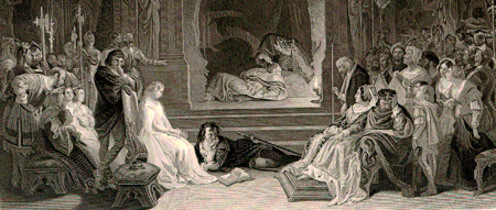 A detail of the engraving of Daniel Maclise's 1842 painting The Play-scene in Hamlet, portraying the moment when the guilt of Claudius is revealed.