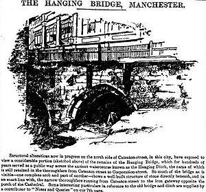 Hanging Bridge - Image: Hanging Bridge Manchester Times, June 14, 1890