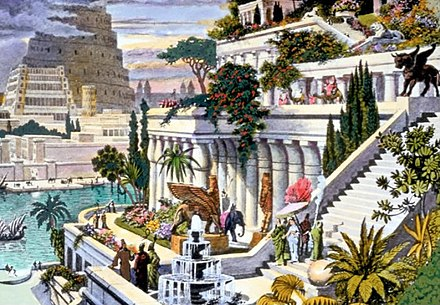 The Hanging Gardens of Babylon[17] with the Tower of Babel in the background, a 16th-century hand-coloured engraving by Martin Heemskerck