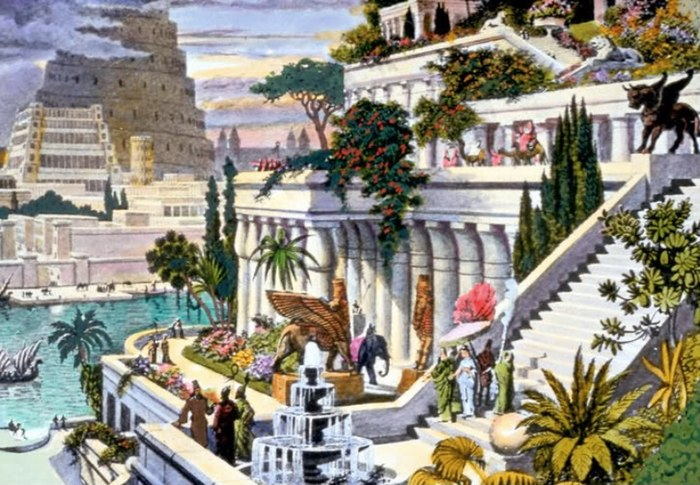 This hand-coloured engraving, probably made in the 19th century after the first excavations in the Assyrian capitals, depicts the fabled Hanging Gardens, with the Tower of Babel in the background. Hanging Gardens of Babylon.jpg